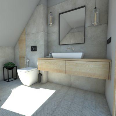 łazienka na poddaszu ; ciekawa aranżacja