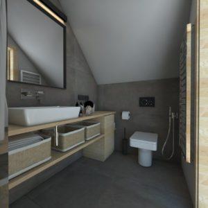 popielata łazienka; drewniana stolarka