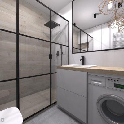 drzwi prysznicowe loft zabudowa pralki pod blatem