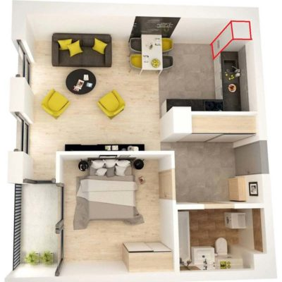 małe mieszkanie rzut