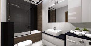 scianka szklana prysznicowa nawannowa; jasna biała łazienka ; czarny blat