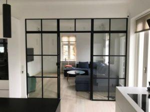 loft glass zabudowa szklana pokój kuchnia