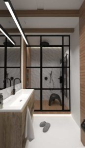 ścianka z drzwiami loft białe płytki podswietlenie led drewniane elementy łazienka