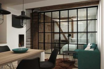 Ścianka działowa loft | Kabina prysznicowa w stylu loftowym