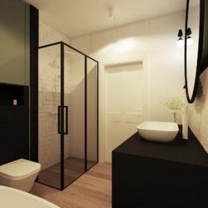 wizualziacja kabiny z czarnymi profialmi drewniany parkiet czarne elementy
