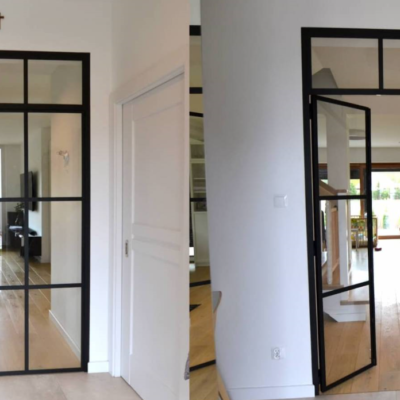 czarny profil drzwi loftowe przedpokój