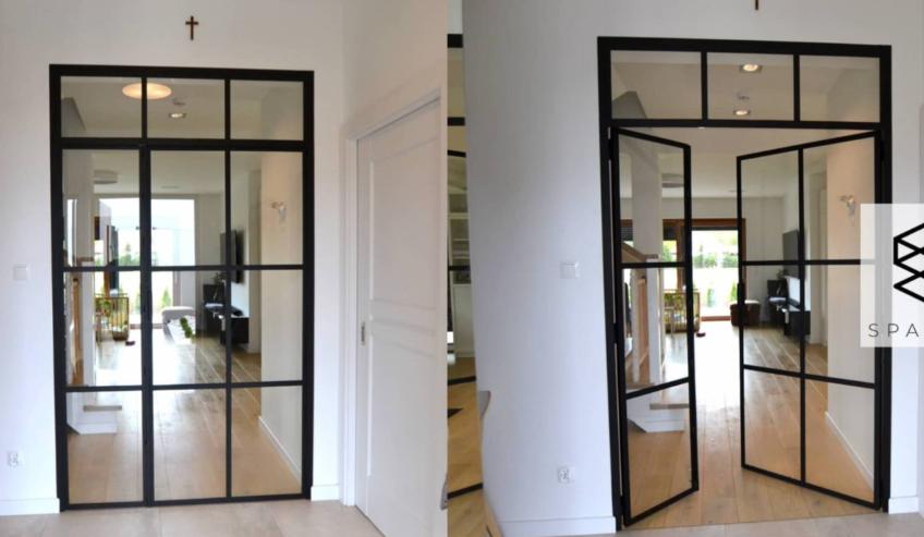 Szklana ścianka | drzwi ze szprosami.